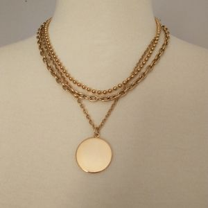 ICING Multi Strand Necklace Gold Tone Statement Ch